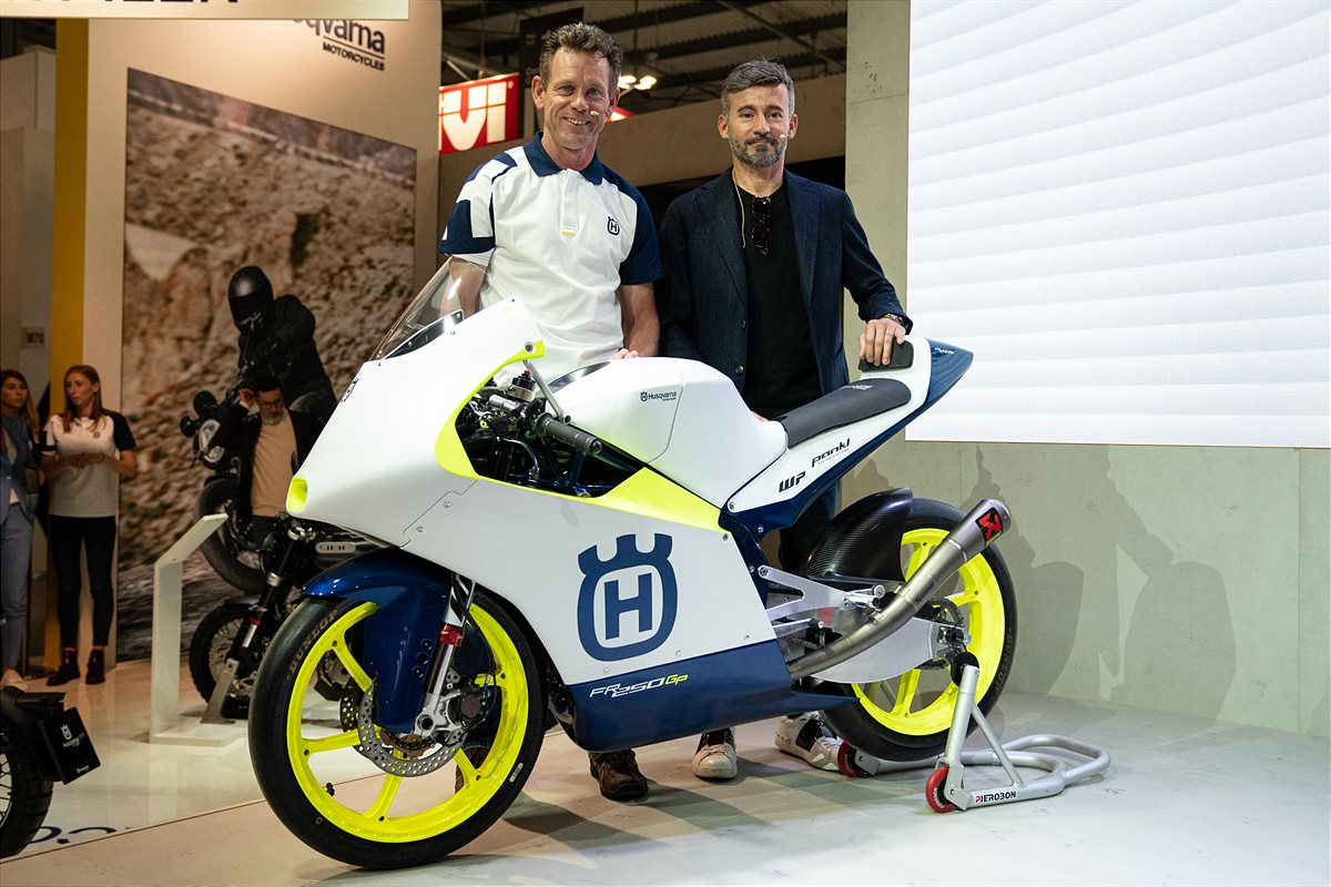 PETER ÖTTL AND MAX BIAGGI WITH THE NEW  HUSQVARNA FR 250 GP